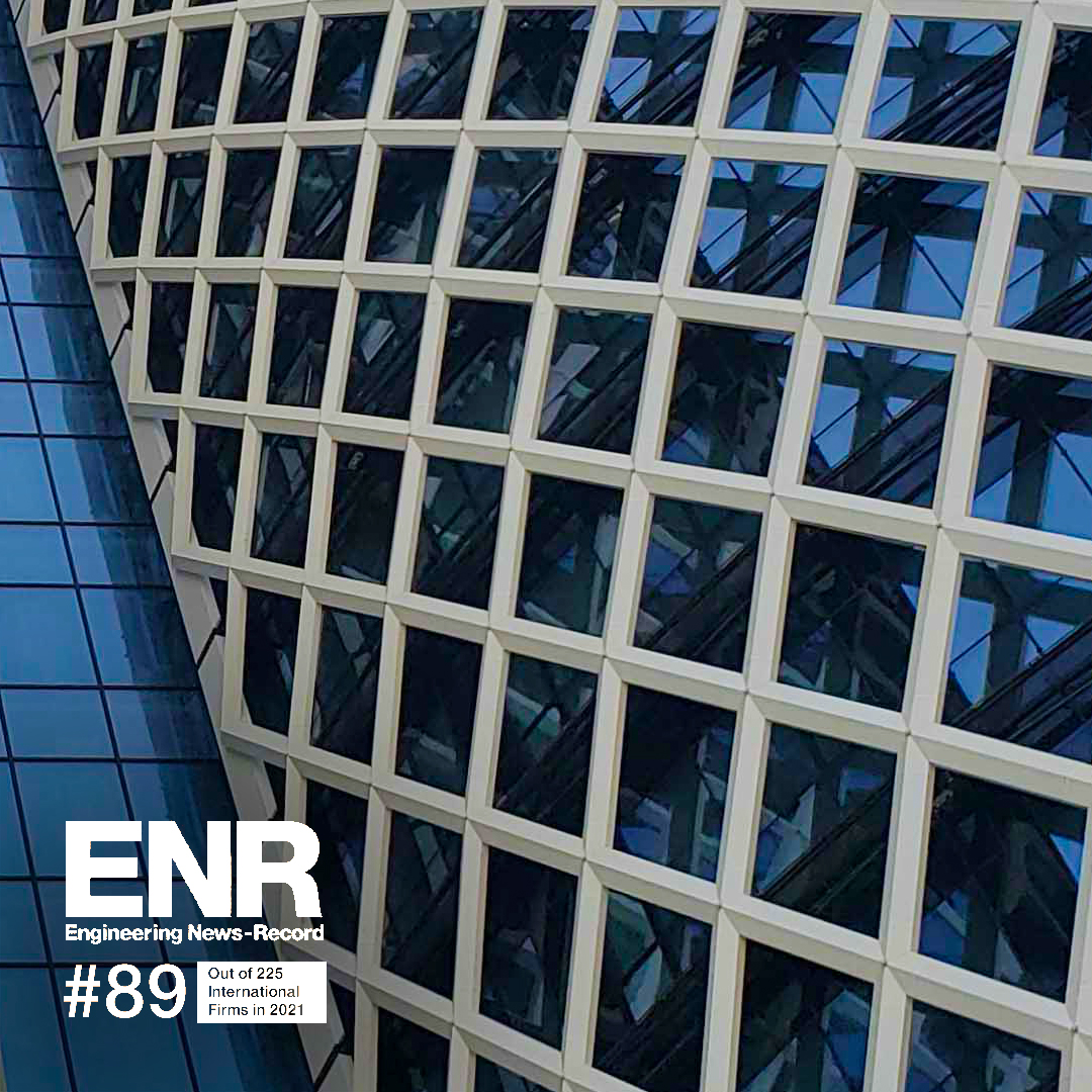 SSH ranked 89th on ENR's list of Top 225 International Design Firms for 2021